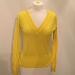 Canary yellow v neck sweater szM